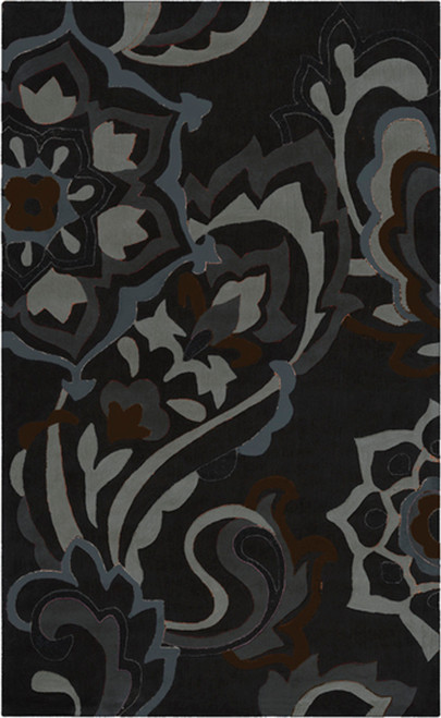 1.5' Pewter Gray and Brown Hand Tufted Square Area Throw Rug - IMAGE 1