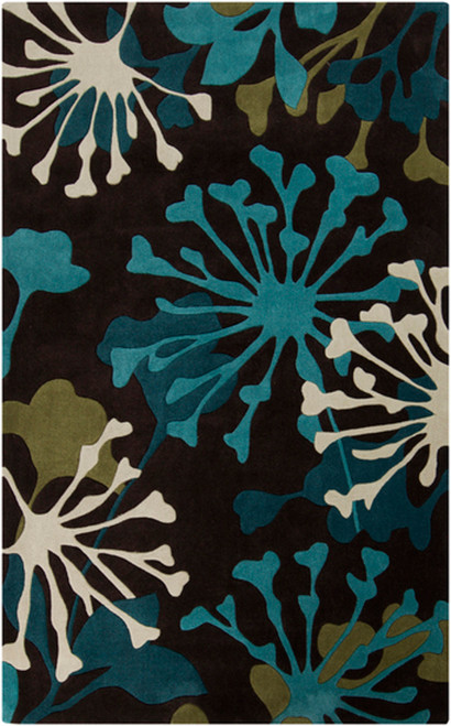 1.5' x 1.5' Kooky Dandelions White and Blue Hand Tufted Area Throw Rug - IMAGE 1