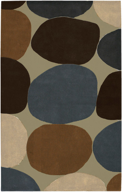 1.5' x 1.5' Brown and Blue Hand Tufted Square Area Throw Rug Corner Sample - IMAGE 1