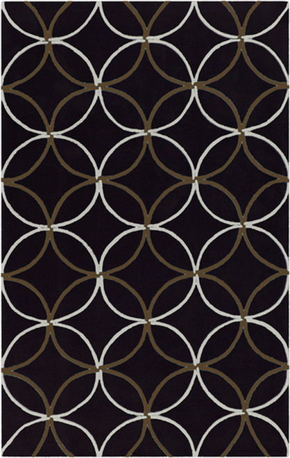 1.5' x 1.5' Black and White Hand Tufted Square Area Throw Rug Corner Sample - IMAGE 1