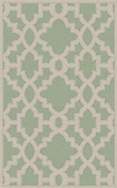1.5' x 1.5' Green and Beige Hand-Tufted Wool Area Throw Rug - IMAGE 1