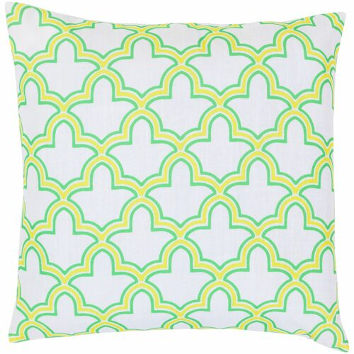 "18"" Yellow and Green Moroccan Trellis Square Throw Pillow Cover - IMAGE 1"