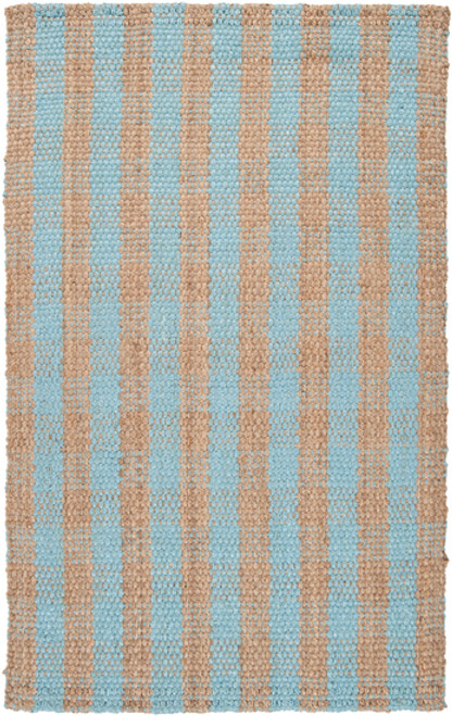 """6"""" x 6"""" Brown and Sky Blue Hand Woven Square Area Throw Rug Corner Sample - IMAGE 1"""
