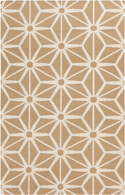 "6"" x 6"" Shimmering Star Brown and White Hand Woven Square Wool Area Throw Rug Corner Sample - IMAGE 1"