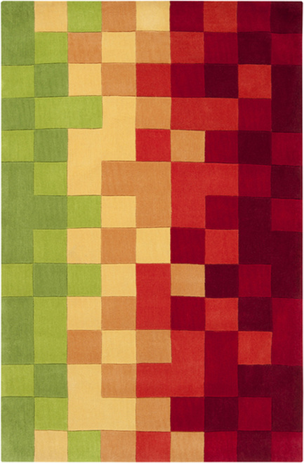 1.5' x 1.5' Brazen Squared Red and Green Hand Tufted Polyester Area Throw Rug Corner Sample - IMAGE 1