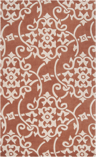 1.5' x 1.5' Orange and White Hand Tufted Square Area Throw Rug - IMAGE 1