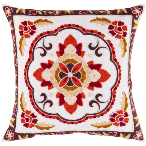 """18"""" Red and Brown Floral Square Throw Pillow Cover - IMAGE 1"""