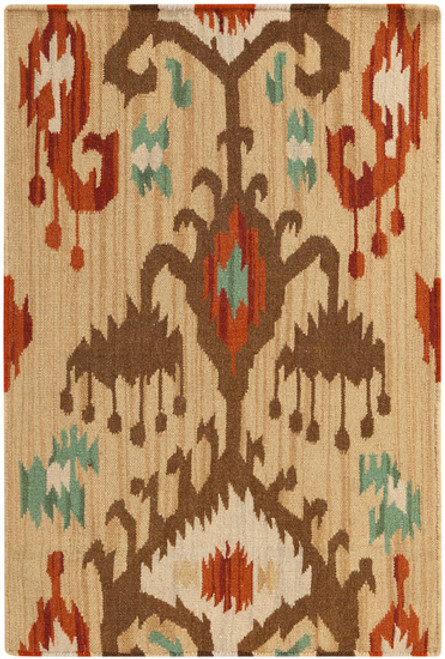 1' x 1' Sand Brown and Green Hand Woven Square Area Throw Rug - IMAGE 1