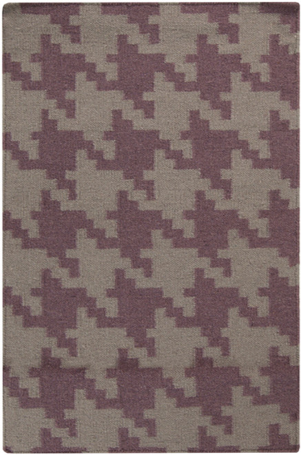 "6"" x 6"" Gray and Purple Hand Woven Square Wool Area Throw Rug Corner Sample - IMAGE 1"
