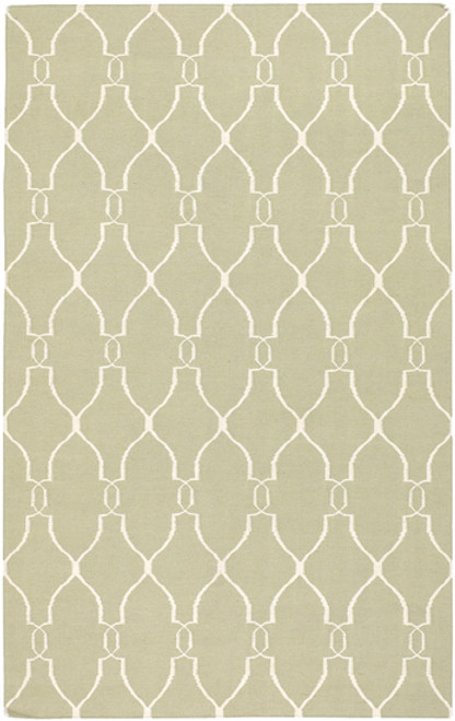 """6"""" x 6"""" Olive Green and Beige Damask Hand Tufted Wool Area Throw Rug - IMAGE 1"""