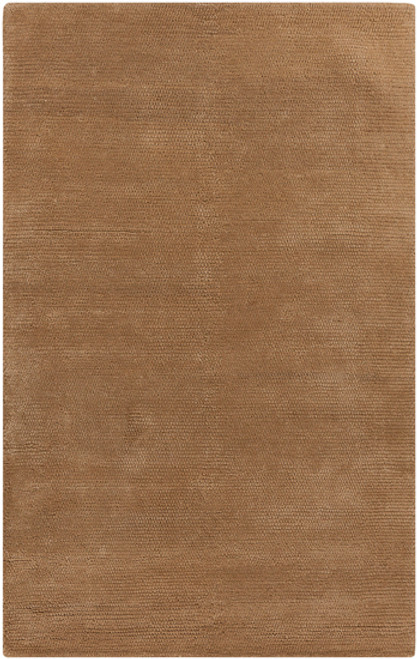 0.5' x 0.5' Camel Brown Hand Woven Square Wool Area Throw Rug Corner Sample - IMAGE 1
