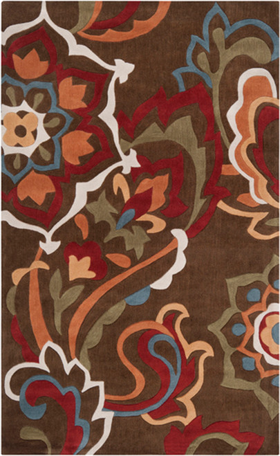 1.5' x 1.5' Green and Red Hand Tufted Square Area Throw Rug Corner Sample - IMAGE 1