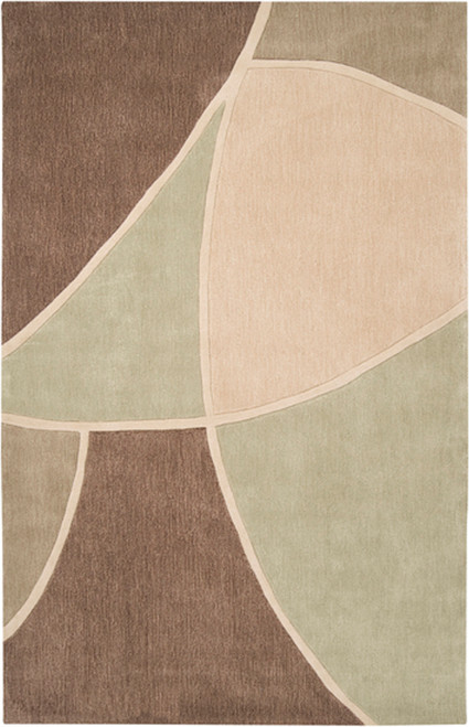 1.5' x 1.5' Triantan Brown and Olive Green Hand Tufted Polyester Area Throw Rug Corner Sample - IMAGE 1