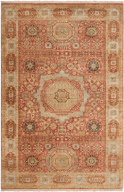 1.5' x 1.5' Red and Green Hand Knotted Square New Zealand Wool Area Throw Rug Corner Sample - IMAGE 1