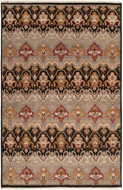 1.5' x 1.5' Black and Brown Hand Knotted Square New Zealand Wool Area Throw Rug Corner Sample - IMAGE 1
