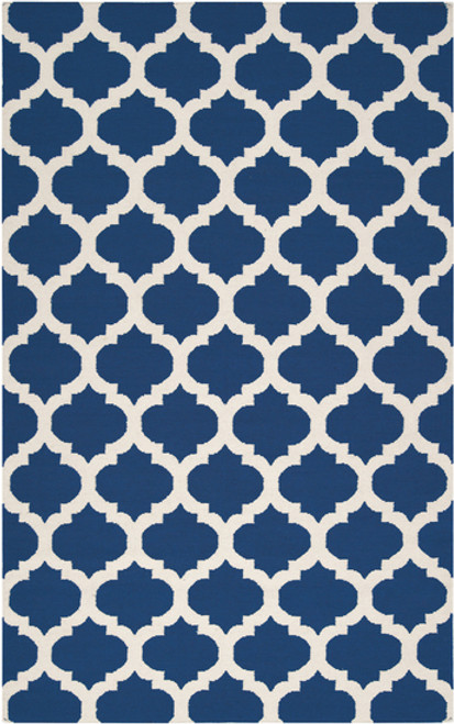1.5' Royal Blue and Winter White Hand Woven Square Area Throw Rug - IMAGE 1