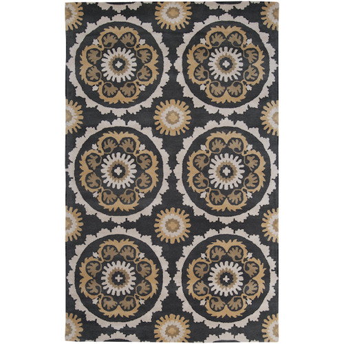 1.5' x 1.5' Floral Black Olive and Brown Hand Tufted New Zealand Square Wool Area Throw Rug - IMAGE 1