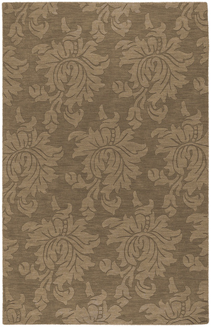 1.5' Giant Flower Foliage Cedar Brown Square Area Throw Rug - IMAGE 1