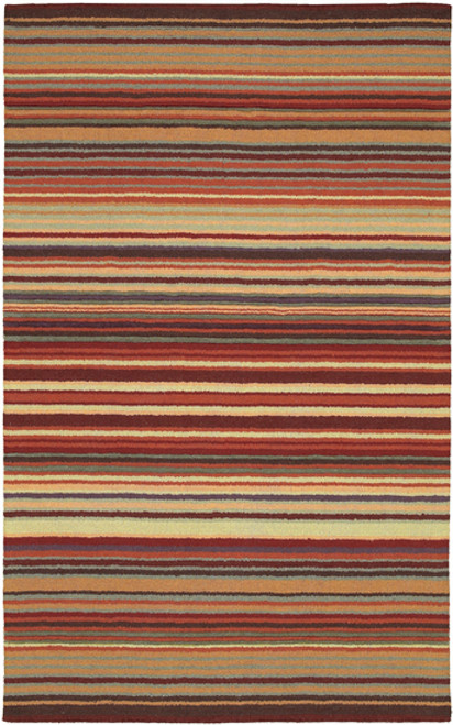 1.5' Striped Red and Beige Hand Loomed Square Area Throw Rug - IMAGE 1