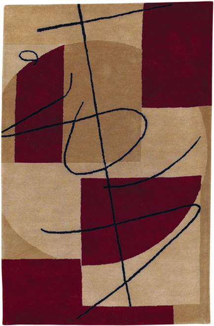 1.5' x 1.5' Contemporary Red and Brown Hand Tufted New Zealand Wool Area Throw Rug Corner Sample - IMAGE 1