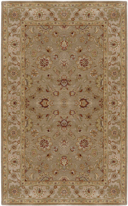 1.5' x 1.5' Olive Green and Brown Hand Tufted Wool Area Throw Rug Corner Sample - IMAGE 1
