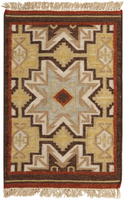 1.5' x 1.5' Southwest Corners Red and Brown Hand Woven Square Wool Area Throw Rug Corner Sample - IMAGE 1