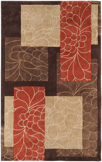1.5' x 1.5' Fiori Brown and Burnt Orange Hand Tufted Polyester Area Throw Rug Corner Sample - IMAGE 1