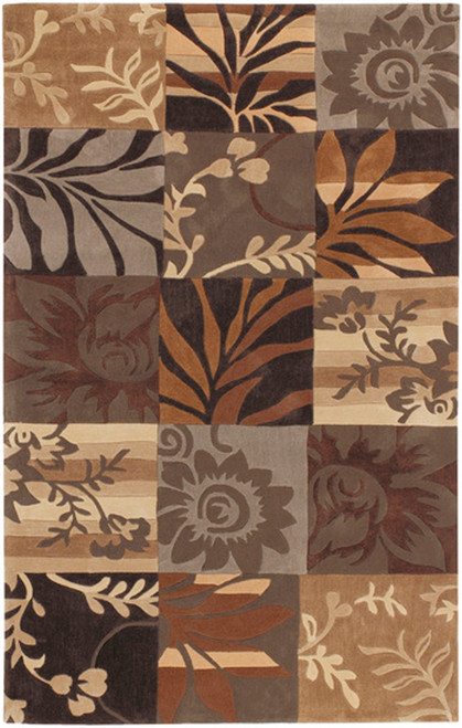 1.5' x 1.5' Brown and Gray Hand Tufted Square Area Throw Rug Corner Sample - IMAGE 1