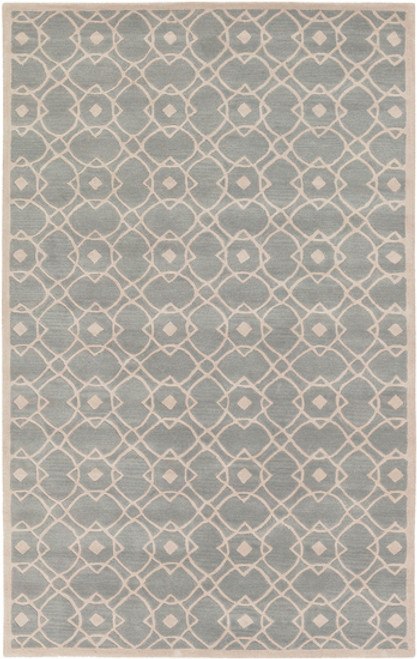 1.5' x 1.5' Gray and Pink Hand Tufted New Zealand Wool Area Throw Rug Corner Sample - IMAGE 1