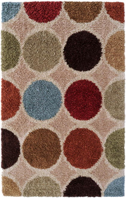 1.5' x 1.5' Contemporary Red and Brown Machine Made Area Throw Rug - IMAGE 1