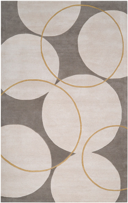 1.5' x 1.5' Gray and Brown Hand Tufted New Zealand Wool Area Throw Rug Corner Sample - IMAGE 1
