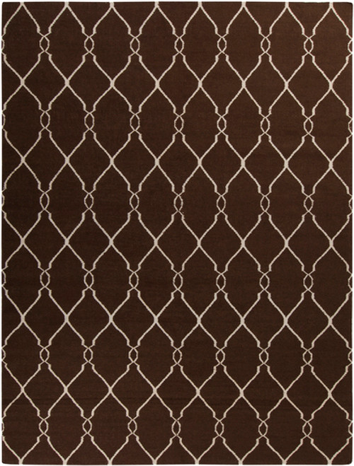 1.5' x 1.5' Brown and Beige Hand Woven Square Wool Area Throw Rug Corner Sample - IMAGE 1
