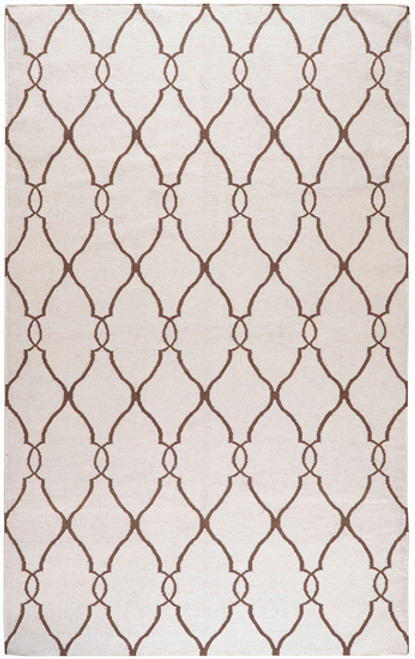 1.5' x 1.5' Beige and Brown Damask Hand Tufted Wool Area Throw Rug - IMAGE 1