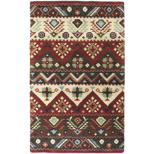 1.5' x 1.5' Brown and Green Contemporary New Zealand Wool Area Throw Rug Corner Sample - IMAGE 1