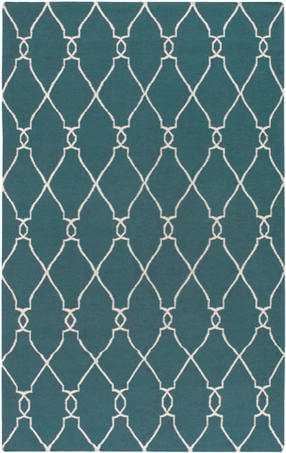 1.5' x 1.5' Blue and Beige Damask Hand Tufted Wool Area Throw Rug - IMAGE 1
