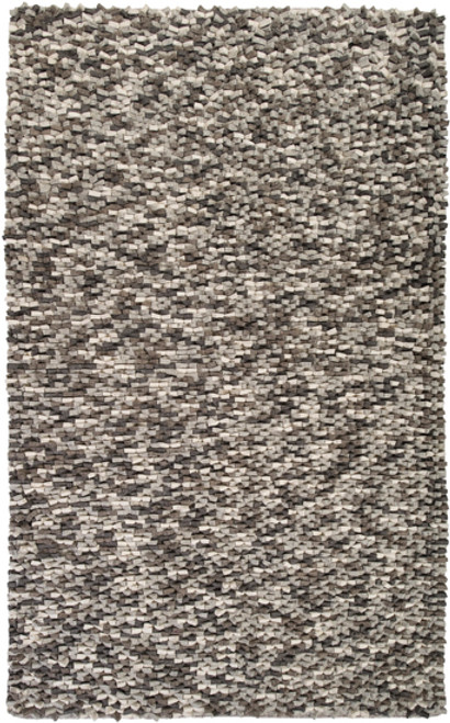 1.5' x 1.5' Gray and Ivory Hand Woven Square Area Throw Rug Corner Sample - IMAGE 1