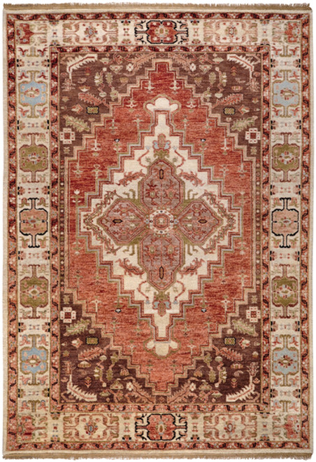 1.5' x 1.5' Crimson Red and Brown Hand Knotted New Zealand Wool Area Throw Rug Corner Sample - IMAGE 1