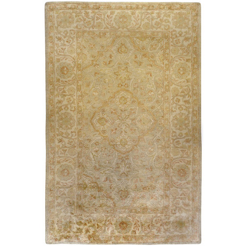 1.5' x 1.5' Flaxen Yellow and Red Square Area Throw Corner Rug - IMAGE 1
