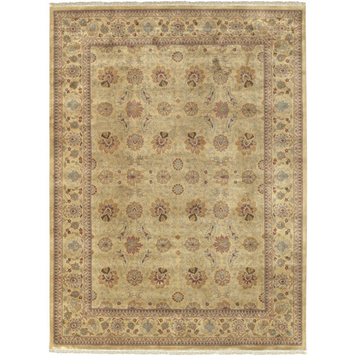 1.5' x 1.5' Floral Beige and Brown Hand Knotted Square Wool Area Throw Rug - IMAGE 1