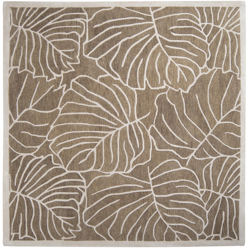 1.5' x 1.5' Coffee Brown and White Hand Tufted Wool Throw Rug - IMAGE 1