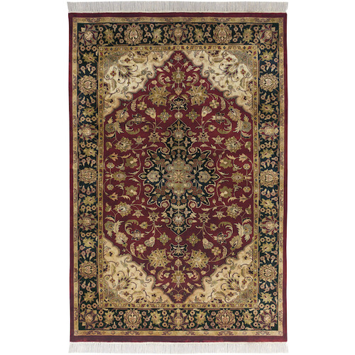 1.5' x 1.5' Floral Green and Red Hand Knotted Square Wool Area Throw Rug - IMAGE 1