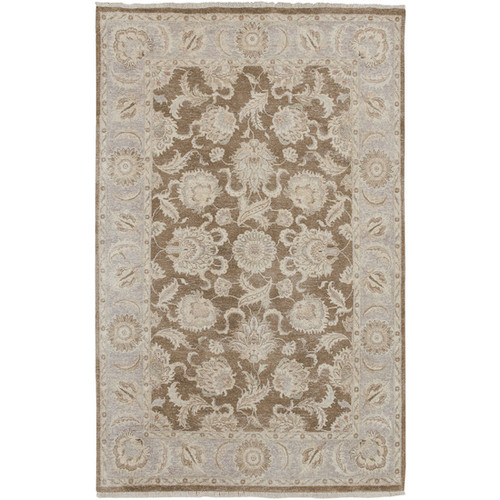 1.5' x 1.5' Floral Brown and White New Zealand Wool Square Area Throw Rug Corner Sample - IMAGE 1