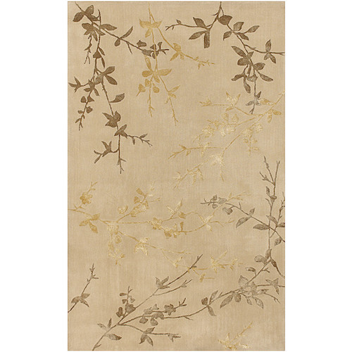 1.5' x 1.5' Autumn Branch Gold and Brown Hand Tufted Square Area Throw Rug Corner Sample - IMAGE 1