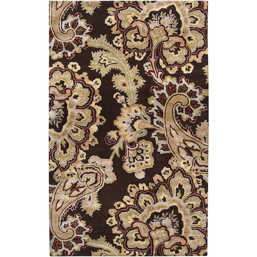 1.5' x 1.5' Chocolate Marseilles Gold and Brown Rectangular Area Throw Rug Corner Sample - IMAGE 1