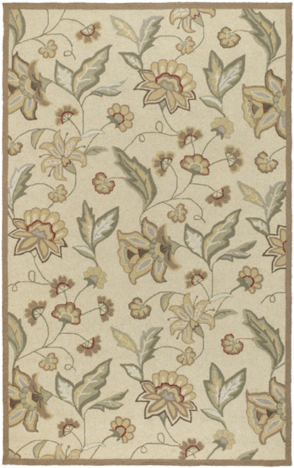 1.5' x 1.5' Floral Beige and Olive Green Hand Hooked Outdoor Area Throw Rug Corner Sample - IMAGE 1