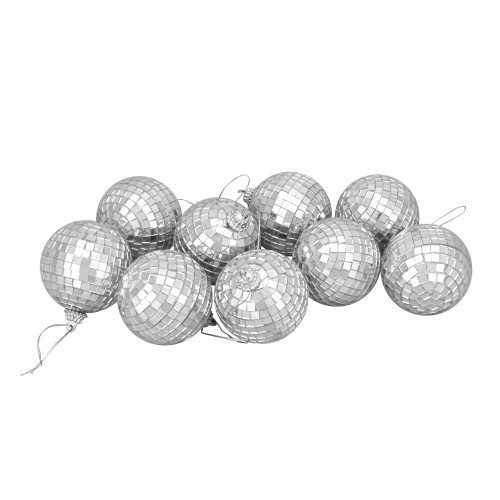 "9ct Silver Splendor Mirrored Disco Glass Christmas Ball Ornaments 2.5"" (60mm) - IMAGE 1"