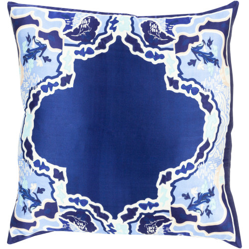 """18"""" Navy Blue and Ivory Transitional Square Throw Pillow Cover - IMAGE 1"""