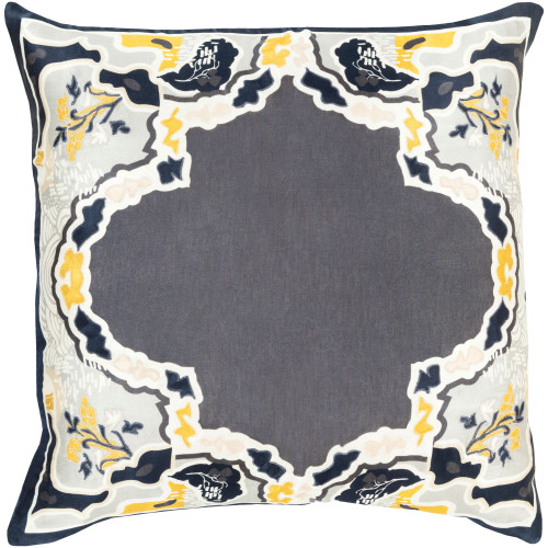 """18"""" Charcoal Gray and Yellow Transitional Square Throw Pillow Cover - IMAGE 1"""