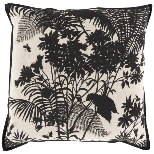"20"" Black and Beige Floral Square Throw Pillow Cover - IMAGE 1"
