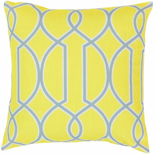 """22"""" Yellow and Gray Trellis Square Throw Pillow Cover - IMAGE 1"""